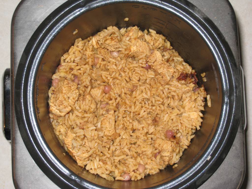 Chipotle Pomegranate Rice and Chicken in Rice Cooker
