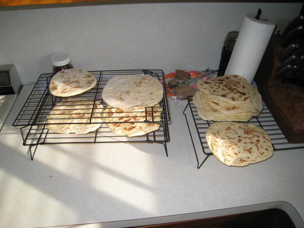 fresh pita bread cooling