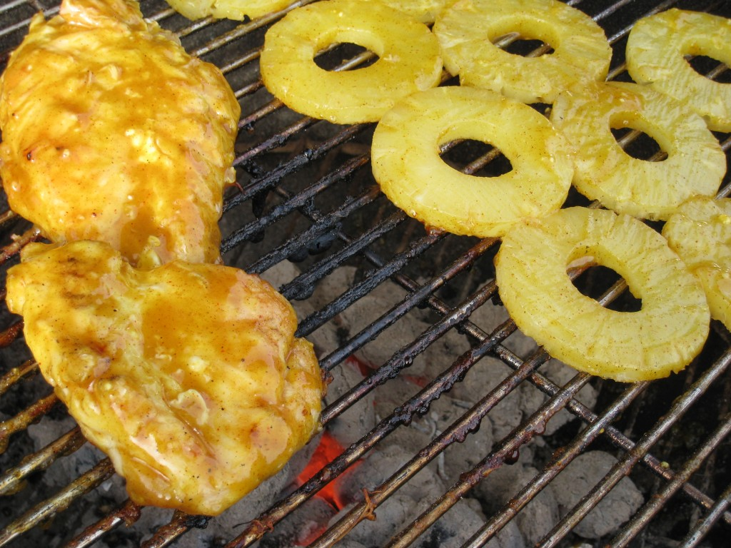 Pineapple Glazed Grilled Chicken and Pineapple on the grill