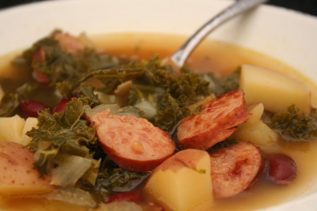 Kielbasa and Kale Soup with Beans