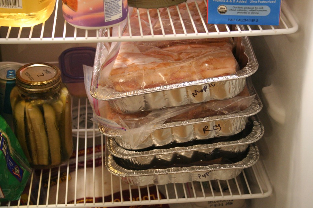 Bacon in the fridge curing